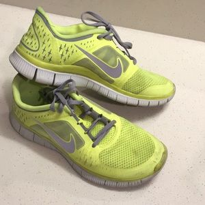 new arrival f6350 a8a3d Nike Free Run 3 Neon Yellow Running Shoes